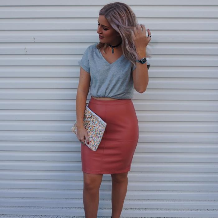 VILA Coral faux leather skirt £30 & Grey Tshirt £15
