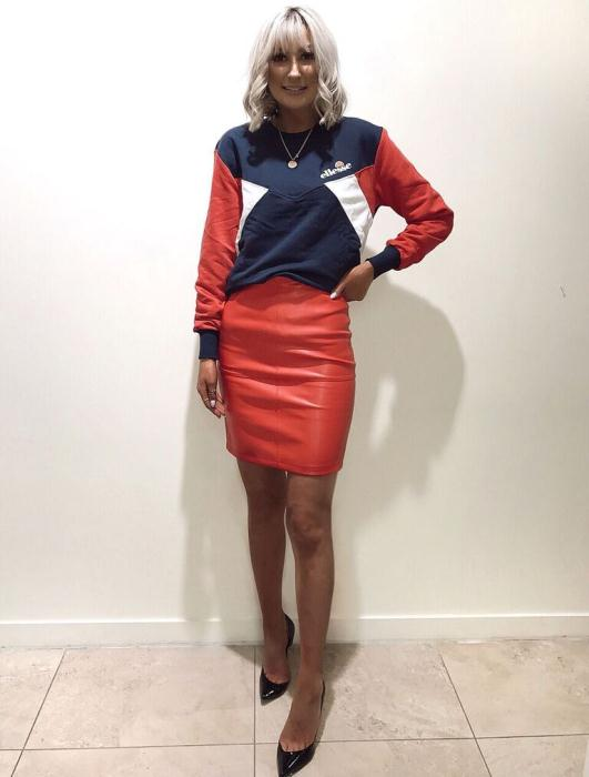 DV8 Ellesse Sweatshirt £49.99 and Faux Leather Skirt £32.99