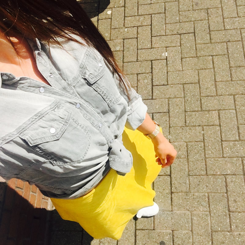 Grey Denim Shirt Vila £30 Yellow Skirt Vila £42