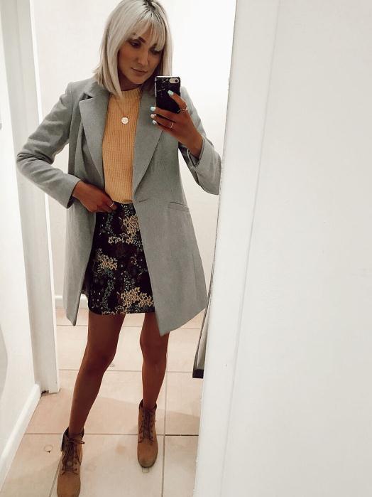Dorothy Perkins Skirt £24.00 Yellow Jumper £20.00 Tan Boots £35.00 Grey Coat £45.00