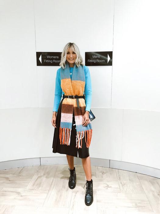 Dunnes Stores Scarf £12 Bag £20 Savida Blue Top £12 Savida Skirt £35