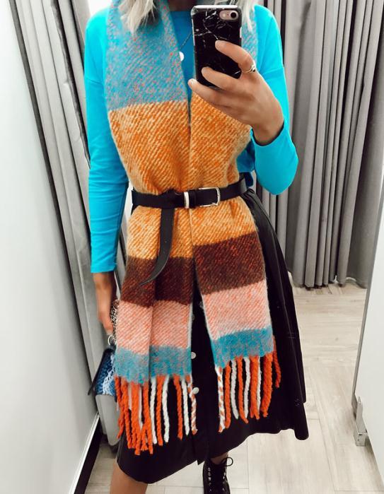 Dunnes Stores Scarf £12 Savida Blue Top £12 Savida Skirt £35