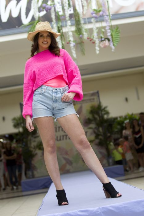 Neon sweater DV8, £29.99 and Levi Shorts, DV8 £49.99