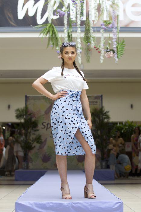 Wrap skirt £22.99, Quiz, T-shirt £12 Vero Moda