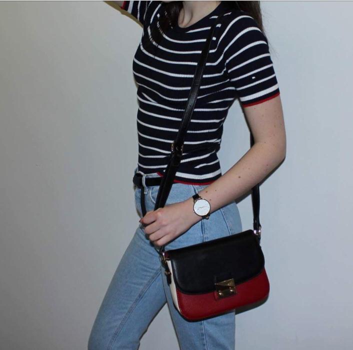 M&S Stripe Jumper £17.50, Bag Accessorize £25