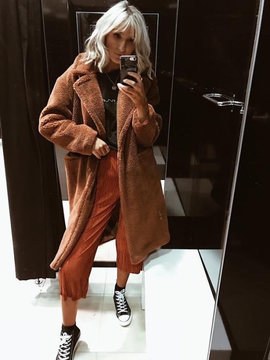 Primark Coat £30.00 Rust Pleated Culottes £12 Black High Top Trainers £8.00