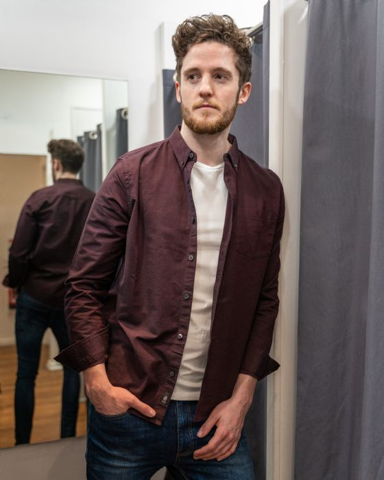 Burgundy shirt £20 Burtons