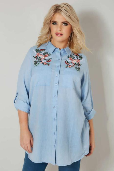 Yours Clothing Blue Chambray Shirt with Floral Embroidery £26.99